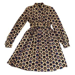 Anna Sui Ring & Dot Print Belted Dress